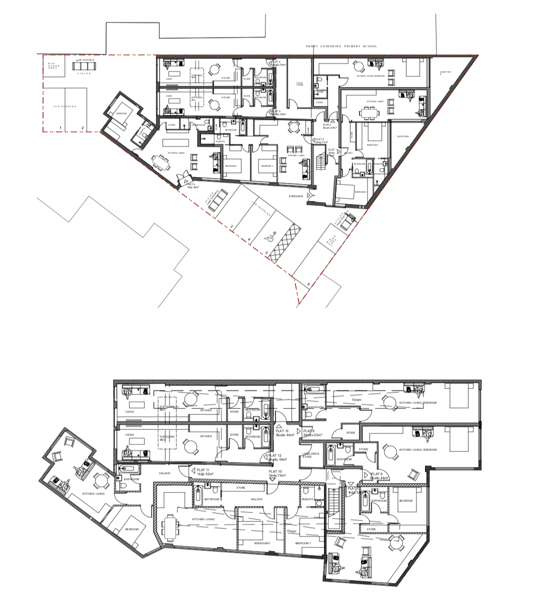 Plans show 13 studio flats, four with windows onto a lightwell, and four with no windows at all