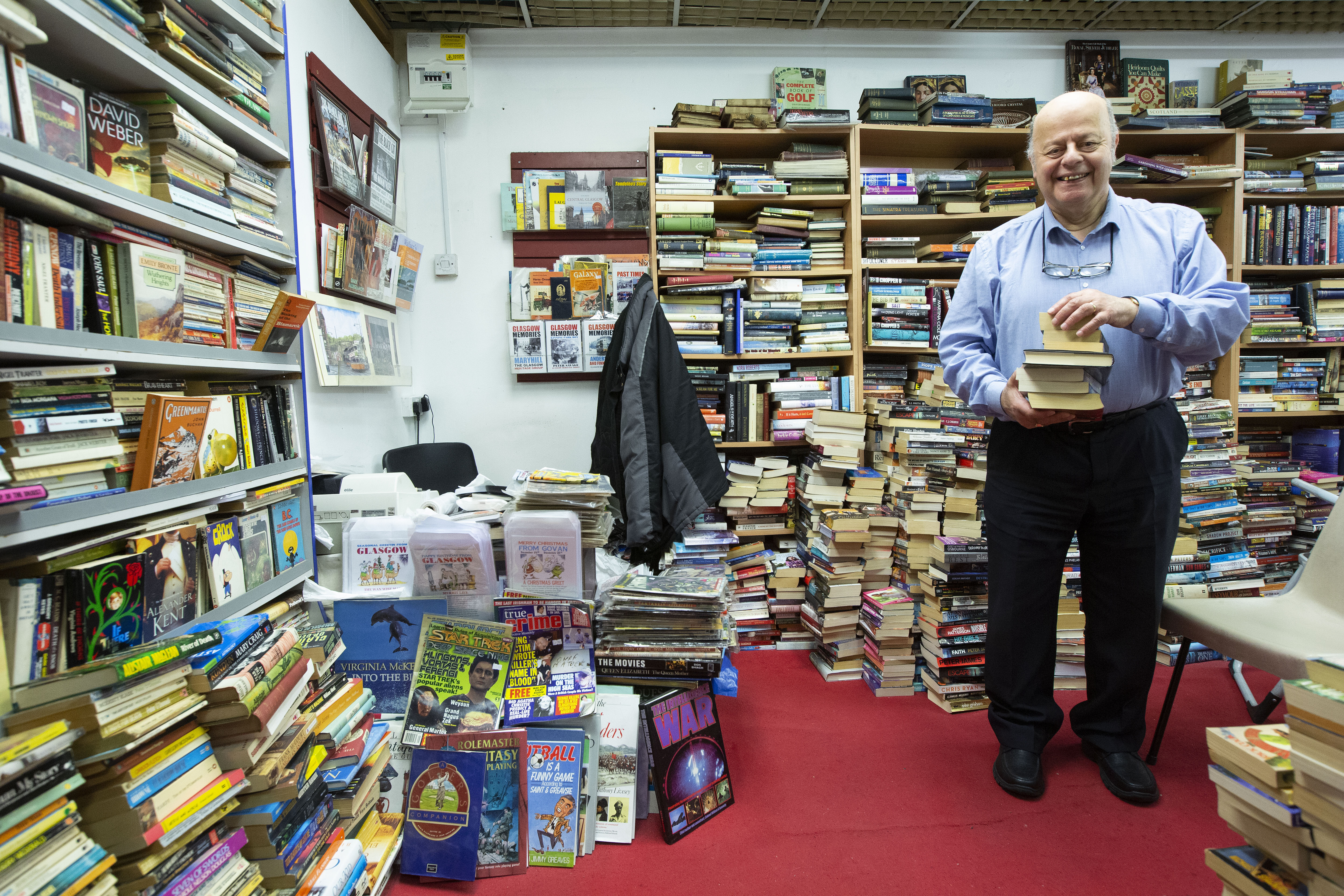 Paul Abrahams in his Book Tree bookshop in COLAB in the Savoy Centre