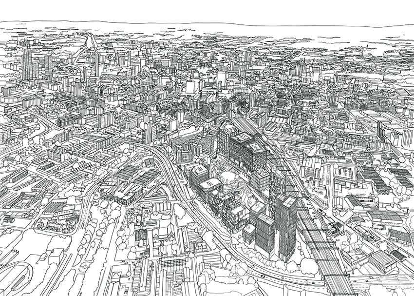 A sketch of the masterplan for the 24 acres of Mayfield, Manchester, which include offices, shops and homes